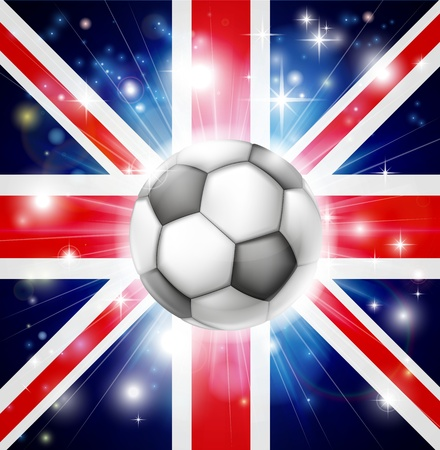 socer: Flag of UK soccer background with pyrotechnic or light burst and soccer football ball in the centre