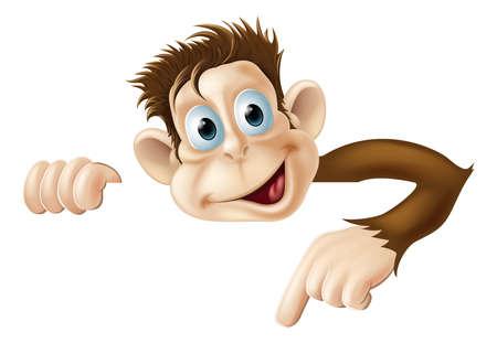 monos: Una ilustraci�n de un mono lindo de la historieta que mira a escondidas y vuelta desde detr�s de un cartel y se�alar o mostrar lo que dice