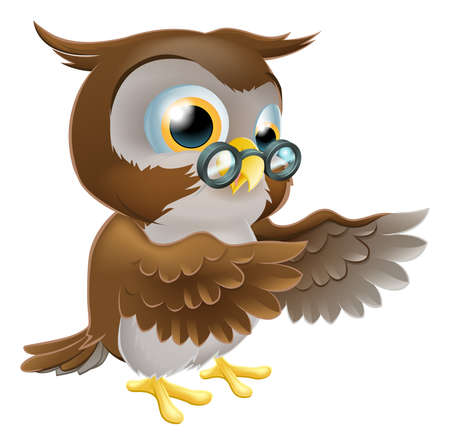 An illustration of a cute cartoon wise owl character pointing or showing something with both his wings Stock Vector - 17819194