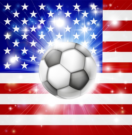 socer: Flag of USA soccer background with pyrotechnic or light burst and soccer football ball in the centre