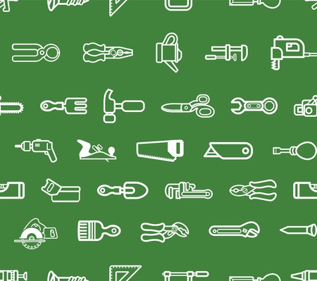 handymen: A seamless repeating background with lots of tools and harware Illustration
