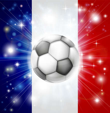 french flag: Flag of France soccer background with pyrotechnic or light burst and soccer football ball in the centre
