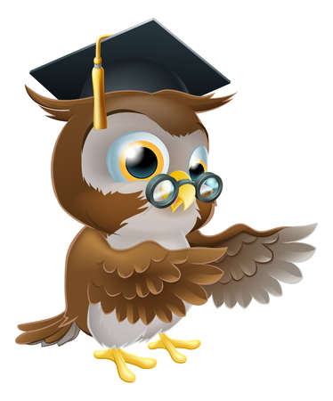 mortar board: A cute cartoon wise owl wearing a mortar board professor or teachers hat and glasses and pointing both wings