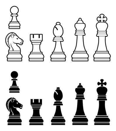 art piece: An illustration of a complete set of chess pieces in black and white