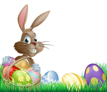 bunny rabbit: Aislado Pascua pie de p�gina de dise�o con un conejito y huevos de Pascua decorados en una canasta