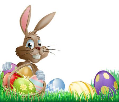 cartoon bunny: Isolata Pasqua disegno footer con un coniglio e uova di Pasqua decorate in un paniere
