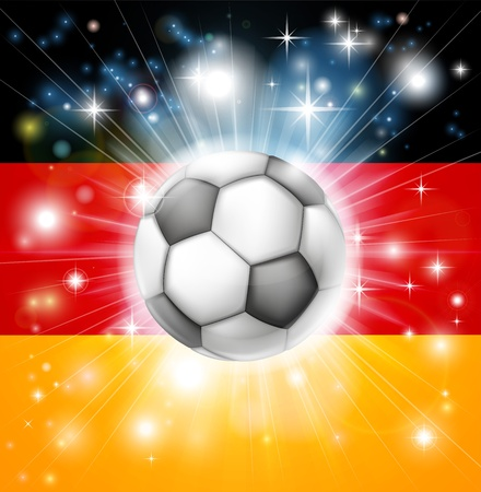 socer: Flag of Germany soccer background with pyrotechnic or light burst and soccer football ball in the centre