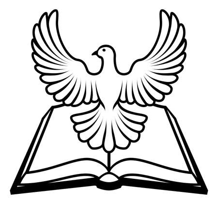 religious symbols: Christian Bible with the holy spirit in the form of a white dove.