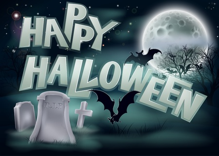 A spooky Happy Halloween graveyard background illustration with bat and a full moon Vector