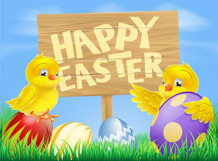 Cartoon illustration of Easter chicks and painted Easter eggs with a wooden sign reading Happy Easter Vector