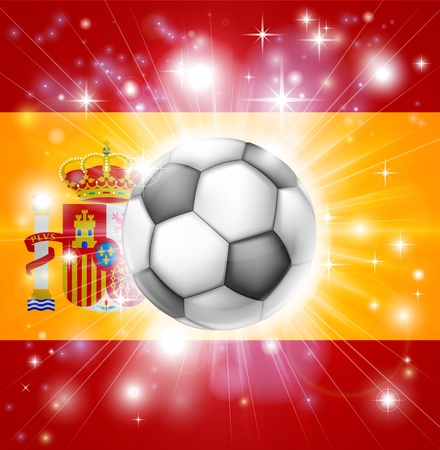 socer: Flag of Spain soccer background with pyrotechnic or light burst and soccer football ball in the centre