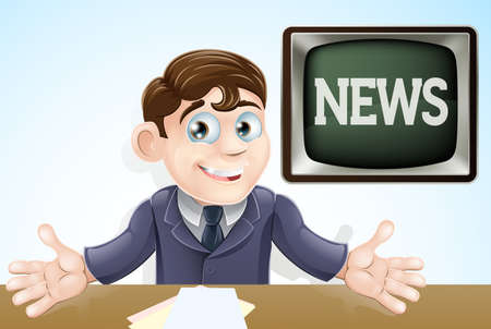 breaking: An illustration of a cartoon television news anchor man presenting the TV news Illustration