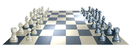 An illustration of a chess board and pieces in perspective at the opening of a chess game Vector