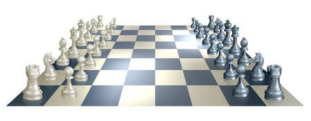 tablero de ajedrez: Una ilustraci�n de un tablero de ajedrez y piezas en perspectiva en la apertura de una partida de ajedrez