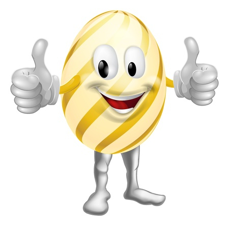 An illustration of a happy fun cartoon Easter egg mascot character doing a thumbs up Vector