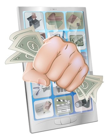 An illustration of a mobile phone with a fist full of money smashing out of the screen Vector