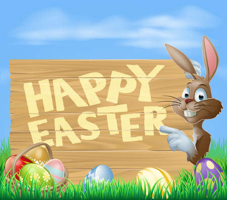 rabit: A cartoon Easter bunny pointing at a wooden Easter sign saying Happy Easter with painted Chocolate Eggs