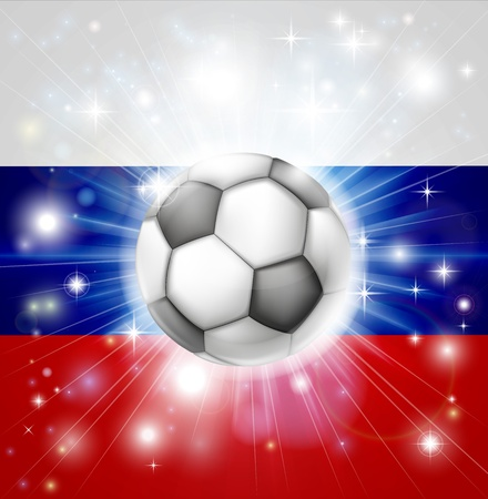 fotball: Flag of Russia soccer background with pyrotechnic or light burst and soccer football ball in the centre Illustration