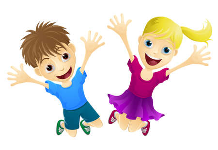 woman jump: A cartoon of two happy children, a boy and girl, jumping for joy