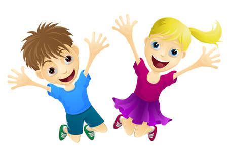 salti: Un fumetto di due bambini felici, un ragazzo e una ragazza, salti di gioia Vettoriali