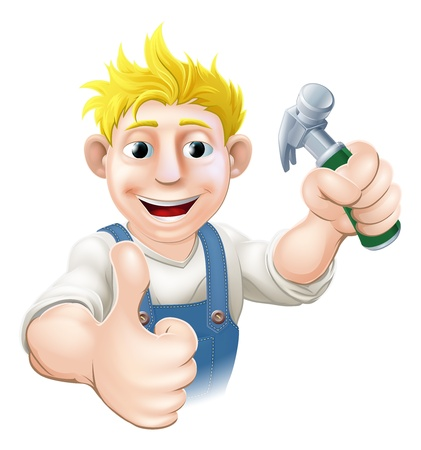 cartoon carpenter: An illustration of a happy cartoon carpenter or construction guy holding a hammer