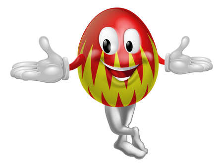 An illustration of a happy fun cartoon Easter egg mascot character Vector