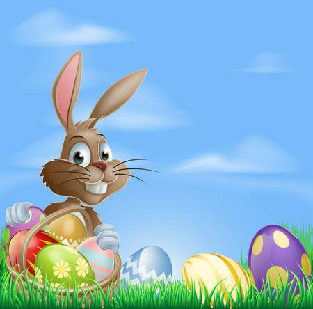 cartoon easter basket: Easter background with copyspace in the sky featuring a cute Easter Bunny and lots of painted Easter Eggs