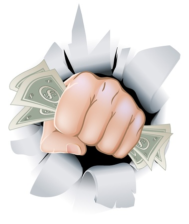 punched through: A fist full of paper money money, dollars, smashing through the background, or wall.
