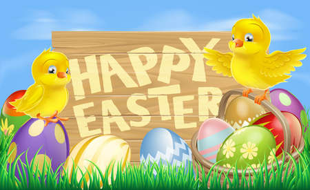 Drawing of an Easter sign reading Happy Easter surrounded by Easter eggs and yellow cartoon Easter chicks Vector