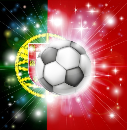 portugese: Flag of Portugal soccer background with pyrotechnic or light burst and soccer football ball in the centre