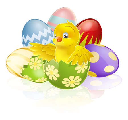 An illustration of a cartoon yellow Easter chick hatching out of a broken Easter egg with more chocolate decorated Eater eggs in the background Vector