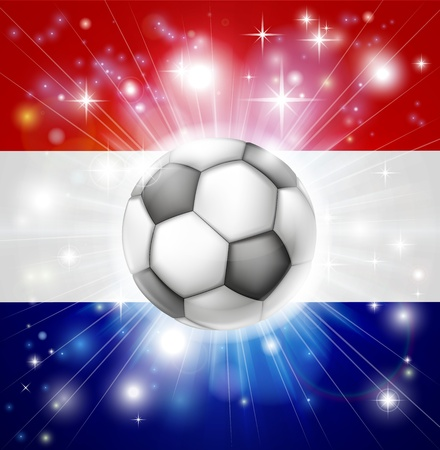 socer: Flag of the Netherlands soccer background with pyrotechnic or light burst and soccer football ball in the centre
