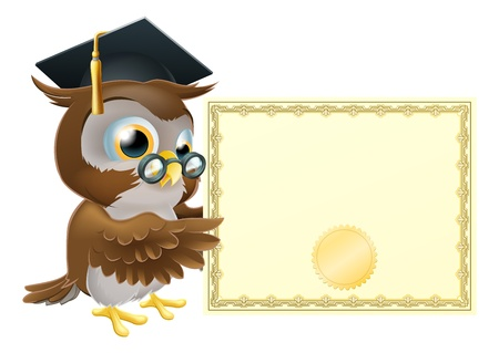 wise old owl: Illustration of a cute owl character in professors or graduates mortar board pointing at a diploma certificate background with copyspace