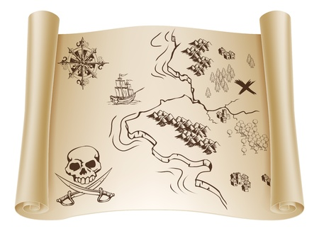 An illustration of an old treasure map on a rolled up paper scroll with x marking the spot Vector