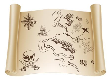 mapa del tesoro: Una ilustración de un antiguo mapa de un tesoro en un rollo de papel enrollado con x que marca el lugar Vectores
