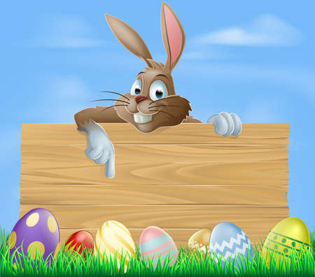 Cartoon Easter bunny pointing at blank wooden sign with painted chocolate Easter eggs in green field Vector