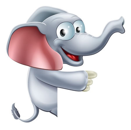 An illustration of a cute happy smiling cartoon elephant peeking round a sign or banner and pointing at it Stock Vector - 18256399
