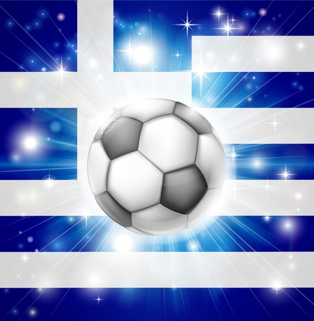 socer: Flag of Greece soccer background with pyrotechnic or light burst and soccer football ball in the centre