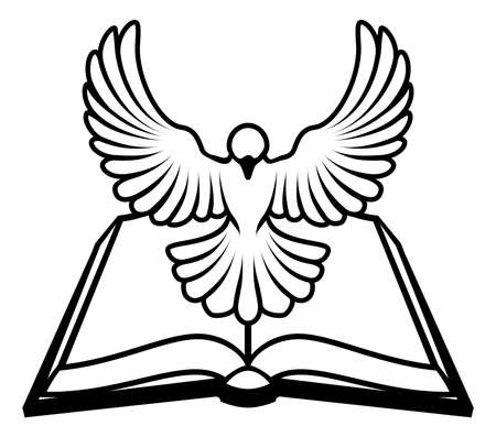 A Christian Bible dove concept, with a white dove representing the holy spirit flying out of the bible. Could refer to inerrant or inspired nature of the bible, or word of God coming to us through the bible. Vector