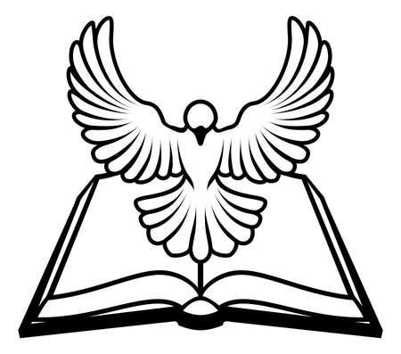 paloma: Un cristiano b�blico concepto paloma, con una paloma blanca que representa el esp�ritu santo volando fuera de la Biblia. �Podr�a referirse a la naturaleza infalible o inspirado de la Biblia, o la palabra de Dios que viene a nosotros a trav�s de la Biblia. Vectores