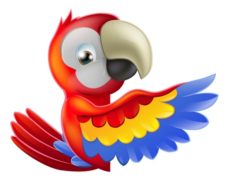 cartoon parrot: A red macaw parrot leaning round a sign or banner and pointing his wing at what is written on it