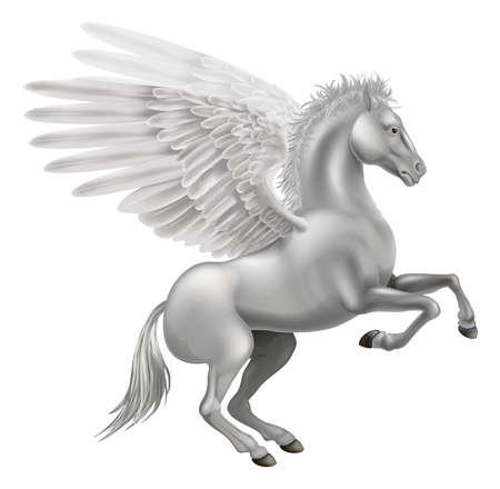 pegaso: Ilustración del mítico caballo alado de la mitología griega, Pegaso