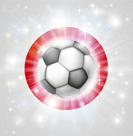 fotball: Flag of Japan soccer background with pyrotechnic or light burst and soccer football ball in the centre