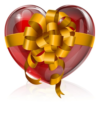Heart bow gift concept, illustration of a heart with a gift ribbon bow round it. Concept for love, giving your heart, or similar. Vector