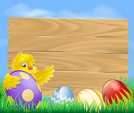 Yellow Easter chicken and chocolate painted Easter eggs with a blank wooden sign for your message Vector
