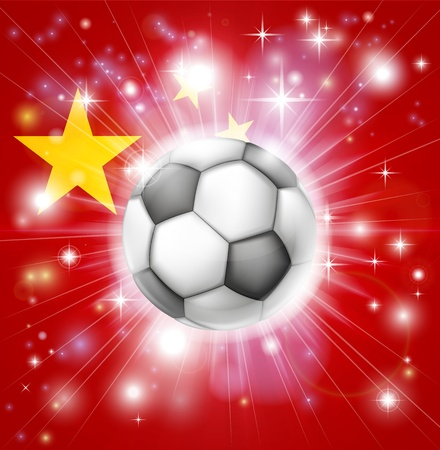 fotball: Flag of China soccer background with pyrotechnic or light burst and soccer football ball in the centre