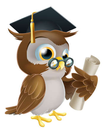 pajaro caricatura: Una ilustración de un buho lindo en vidrios y sombrero de graduado o la celebración de una convocatoria enrollado diploma de desplazamiento, certificado u otro título