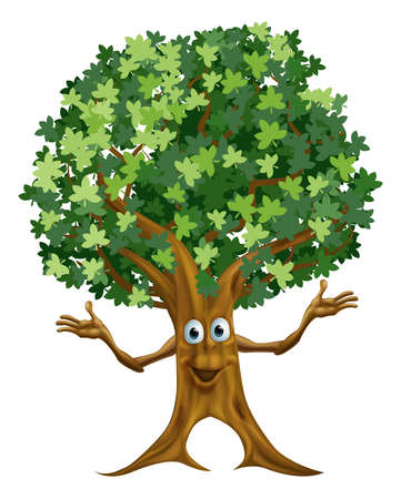brown eyes: Illustration of a friendly cartoon tree character or mascot