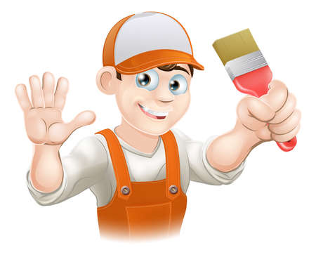 handymen: Illustration of a happy smiling cartoon painter or decorator holding a paintbrush and waving
