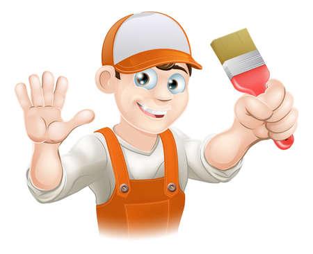 decorando: Ilustraci�n de un pintor de dibujos animados feliz sonriendo o decorador que sostiene un pincel y agitando